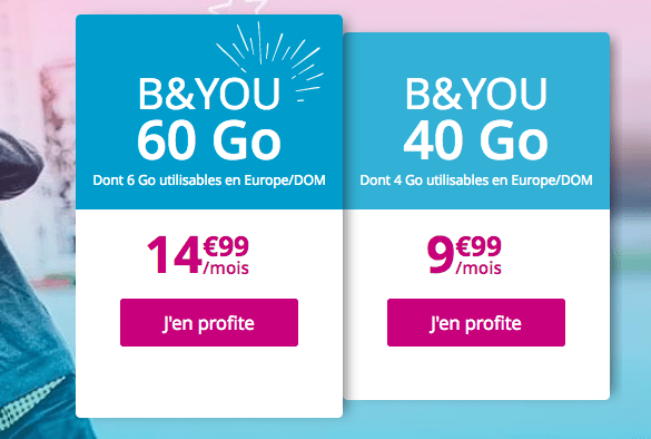Promo forfait B&YOU 60 Go chez Bouygues Telecom.