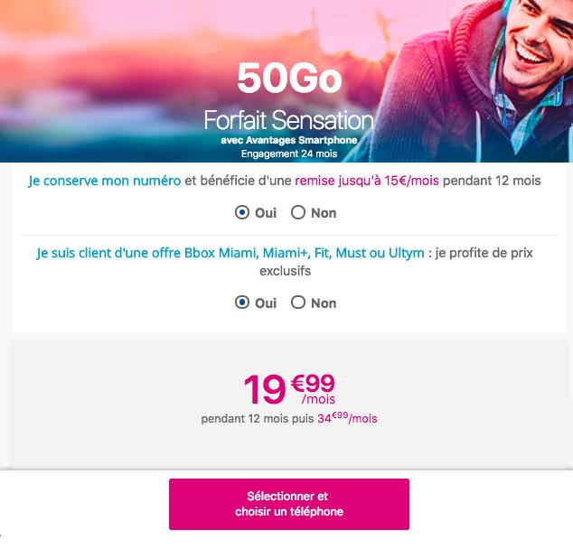 Le forfait Sensation 50 Go de Bouygues Telecom.