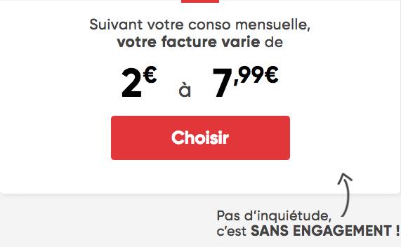 Forfait mobile Prixtel à 2€/mois.