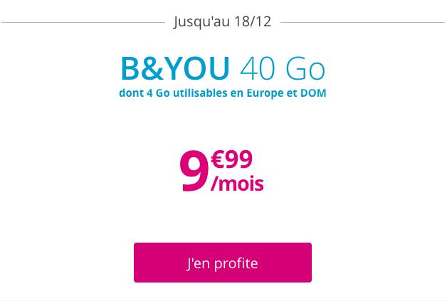 Le forfait sans engagement B&YOU 40 Go à 9,99€.