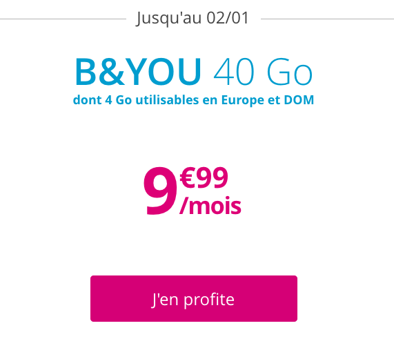 Le forfait B&YOU 40 Go.