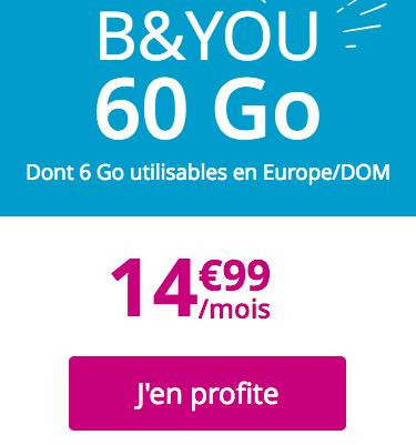 Forfait mobile B&YOU en promotion.