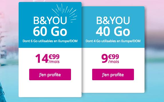 Forfait mobile B&YOU 60 Go sans engagement.