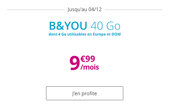 Forfait mobile B&YOU 40 Go en promotion.