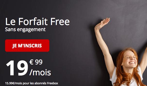 Promotion forfait Free avec 4G illimitée pour les abonnés Freebox.