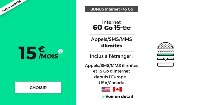 Forfait mobile avec 60 Go de 4G en promotion chez RED by SFR.