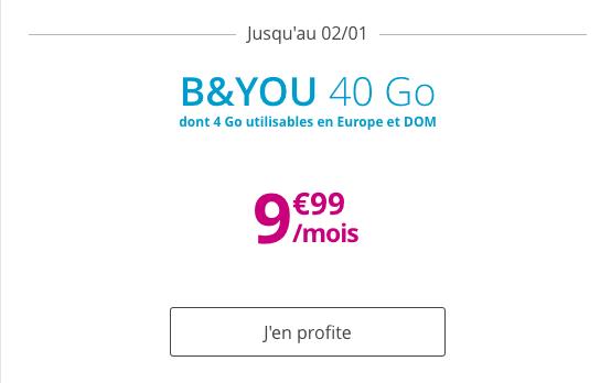 Forfait mobile B&YOU 40 Go en promotion valable à vie.