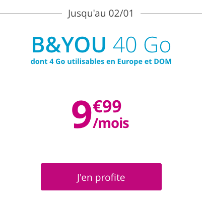 B&YOU promotion forfait mobile 40 Go.