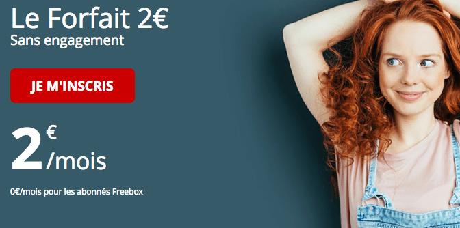 Forfait Free mobile à 2€/mois seulement.