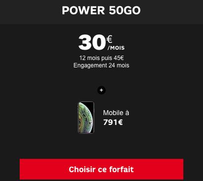 Le forfait mobile SFR power 50 Go.