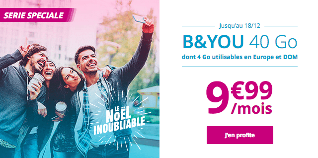 Promotion forfait mobile sans engagement B&YOU 40 Go.