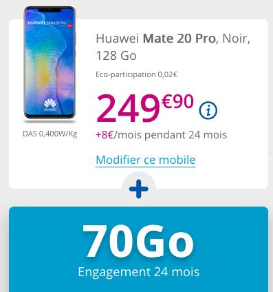Huawei Mate 20 Pro en promotion avec forfait illimité de Bouygues Telecom.