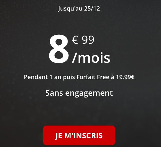 Le forfait pas cher avec 50 Go de 4G chez Free Mobile.