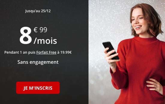 Promotion pour un forfait pas cher avec 50 go de 4G chez Free Mobile.