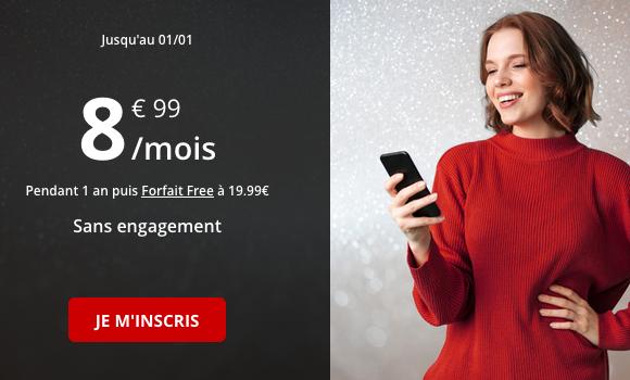 Pas cher, le forfait sans engagement de Free Mobile avec de la 4G en quantité.
