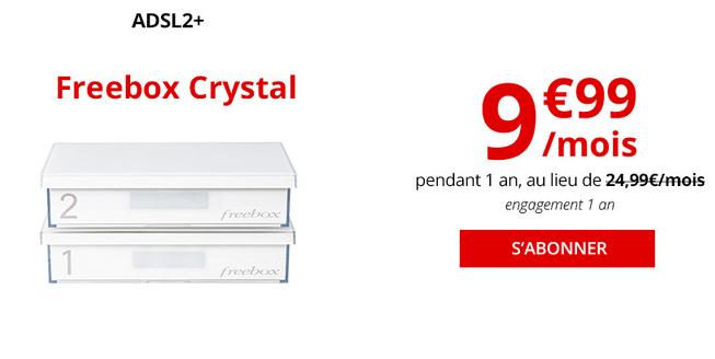 Promotion Freebox Crystal ADSL chez Free.