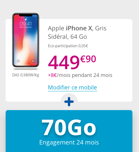 iPhone X pas cher avec Bouygues Telecom et un forfait illimité.