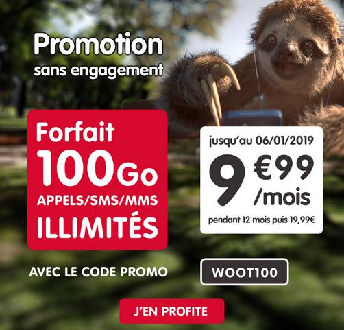 Promo chez NRJ Mobile : forfait illimité avec 100 Go d'Internet 4G pour 9,99€.