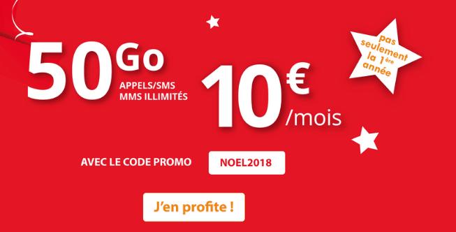 Auchan Télécom forfait mobile en promotion avec 50 Go d'Internet mobile.