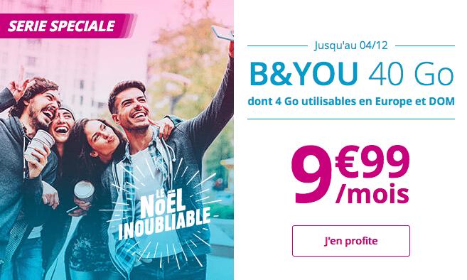 Forfait mobile B&YOU en promotion avec 40 Go 4G.