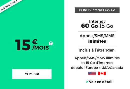 60 Go de 4G et communications vers l'Amérique avec le forfait pas cher de Noël de RED by SFR.