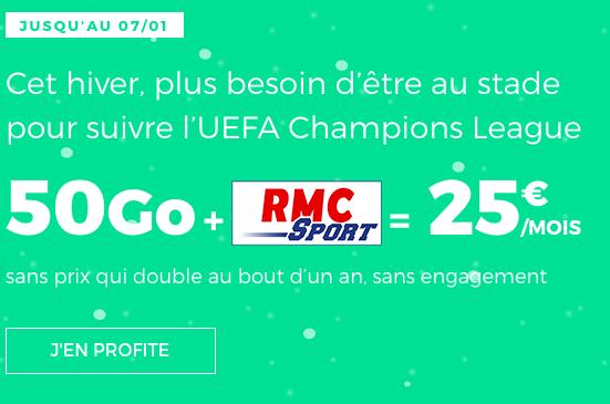 RMC Sport inclus avec le forfait pas cher doté de 50 go de 4G chez RED by SFR.
