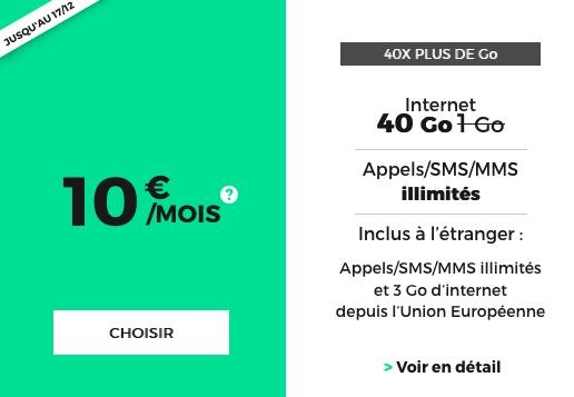Forfait pas cher et à vie chez RED by SFR, avec 40 Go de 4G.