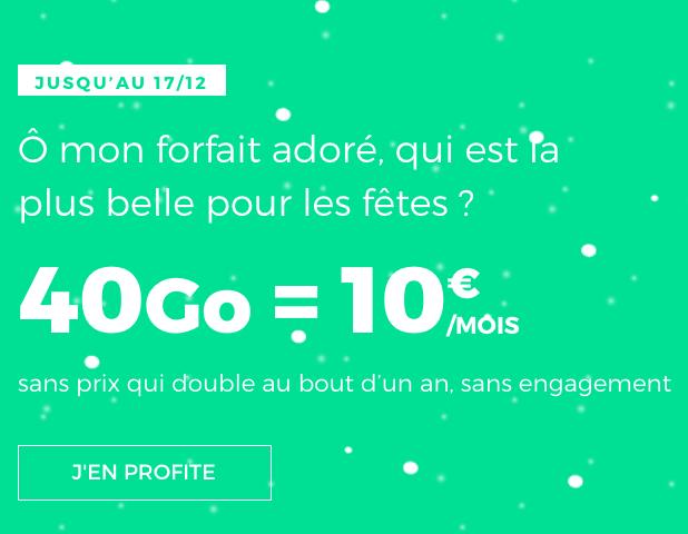 10€ : pas cher le forfait sans engagement de RED by SFR avec 40 Go de 4G.