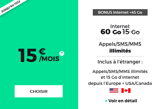 60 Go de 4G avec le forfait pas cher et sans engagement de RED by SFR.