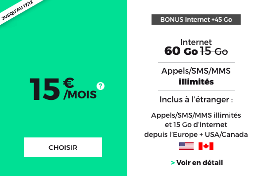 Forfait pas cher avec 60 Go d'Internet 4G chez RED by SFR, sans engagement et à vie.