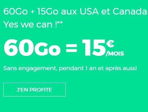 RED by SFR propose, sans engagement, un forfait pas cher avec 60 Go d'Internet 4G.