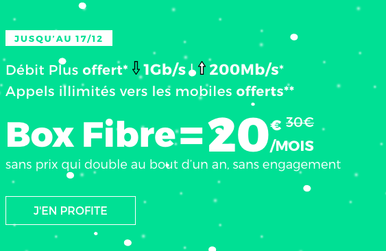 La box internet en promotion de Noël en fibre optique chez RED by SFR, sans engagement.