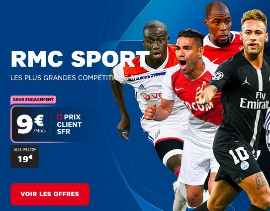 RMC Sport pas cher avec un forfait ou une box internet à bas prix chez SFR.