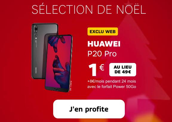 Le Huawei P20 Pro pas cher, à 1€, chez SFR grâce au bon plan de Noêl.