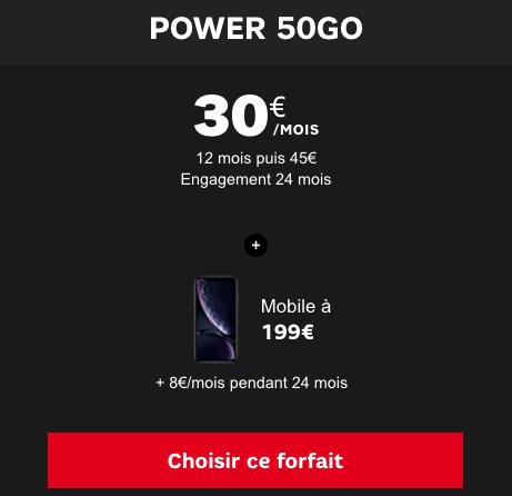 Forfait 4G illimité avec un iPhone XR en promotion chez SFR pour Noël.