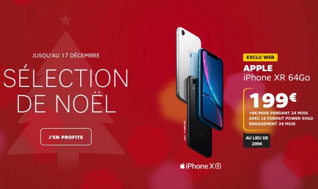 La promotion de Noël chez SFR pour un iPhone XR ou XS à bas prix avec un forfait 4G/