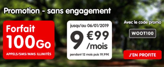 Forfait 4G 100 Go pour moins de 10€
