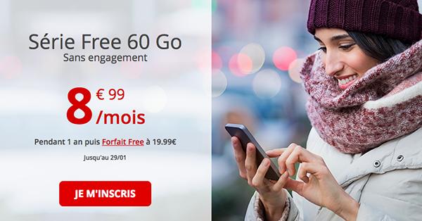 Le forfait mobile 60 Go de Free.