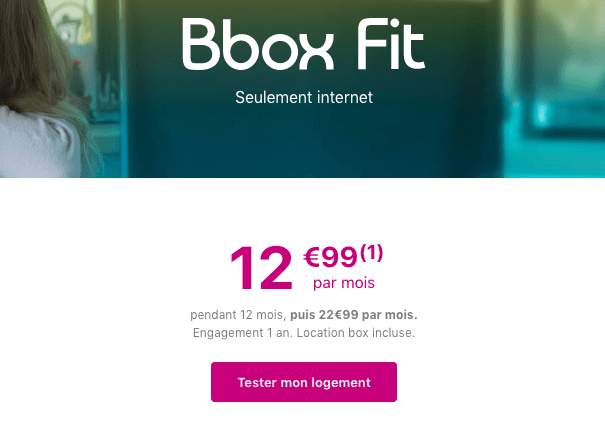 Promotion box internet Bbox Fit.