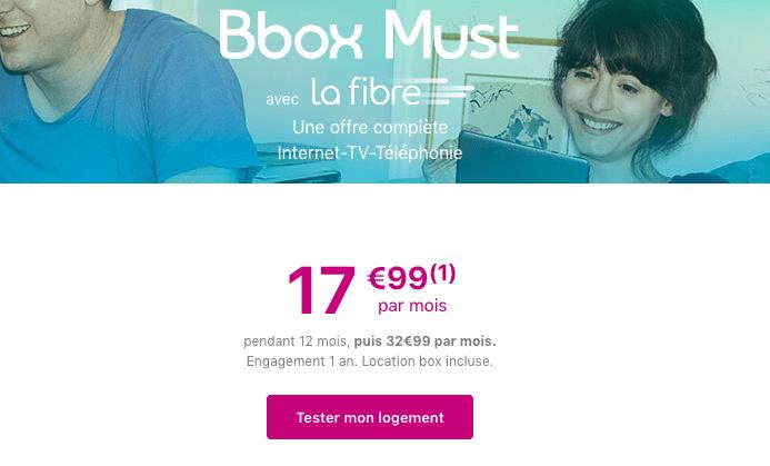 Promotion Bbox Must box internet Bouygues Telecom avec la fibre optique.