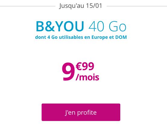 B&YOU et l'offre des soldes d'hiver : 40 Go de 4G pour moins de 10€.