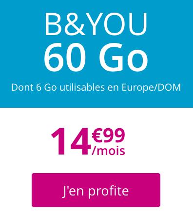 Forfait 4G sans engagement et à vie chez B&YOU avec 60 go de data.