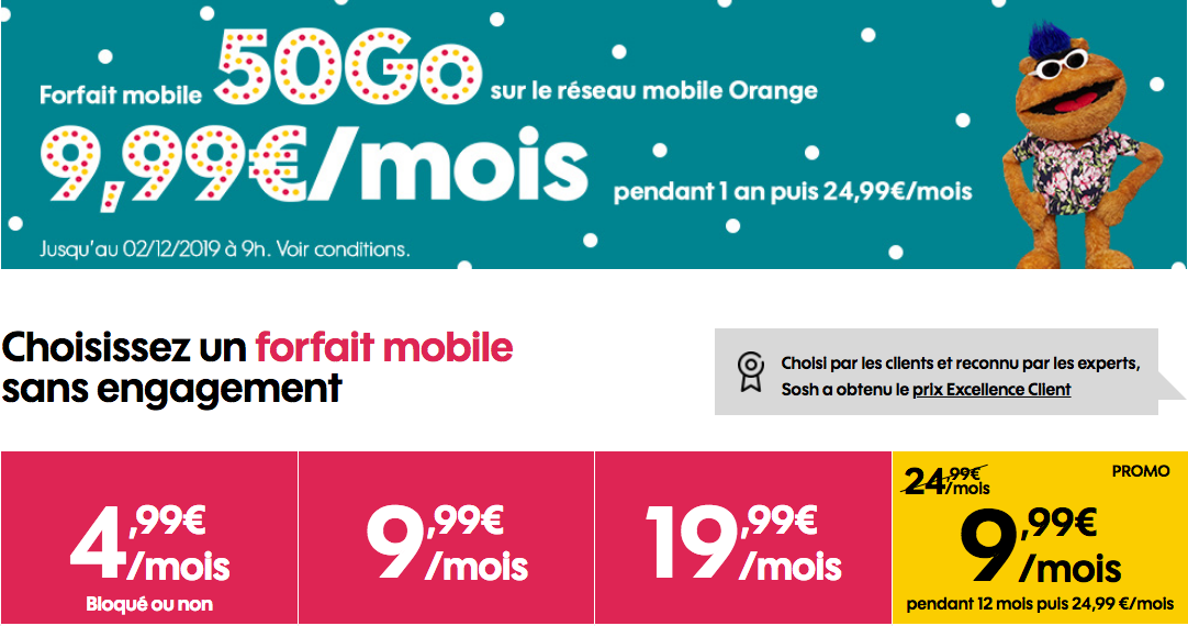 Le forfait black friday de sosh