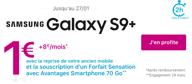 Smartphone Samsung Galaxy S9+ pas cher avec les promo de Bouygues Telecom.