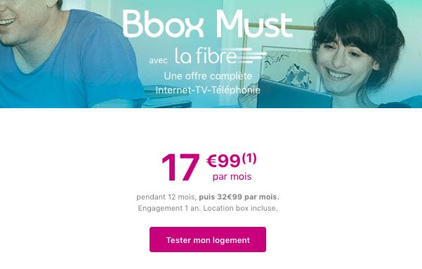 Bbox Must box internet fibre optique en promotion.