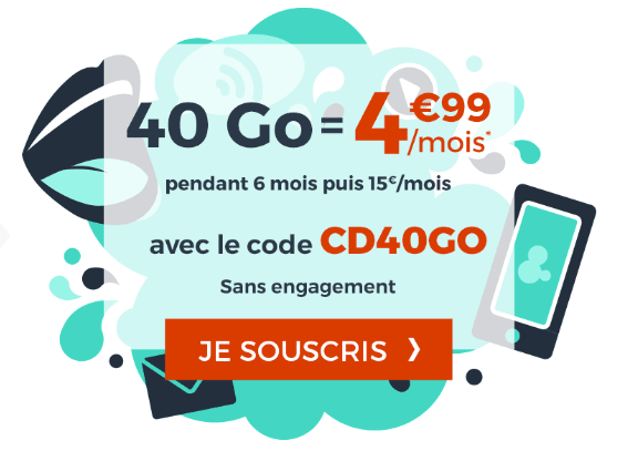 Promotion forfait mobile Cdiscount Mobile 40 Go data.