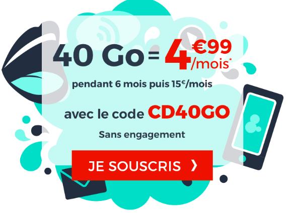 Le forfait 40 Go à 4,99€ de Cdiscount Mobile.