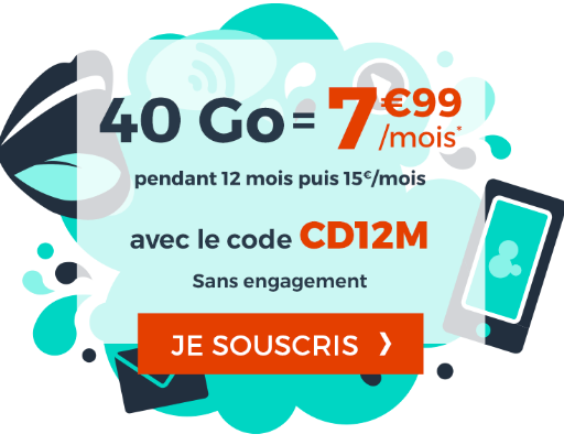 Forfait pas cher en promotion chez Cdiscount Mobile avec 40 Go de 4G.