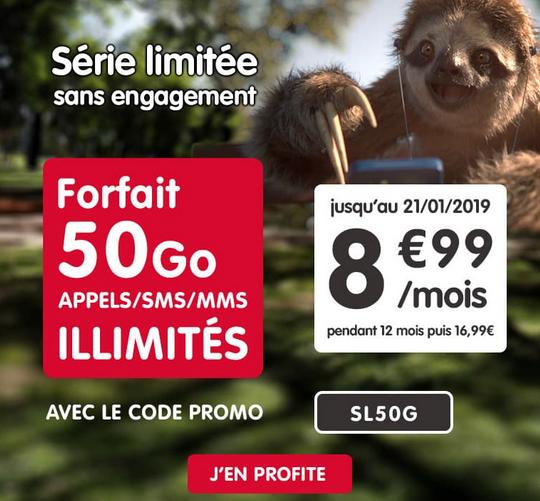 NRJ Mobile et son forfait pas cher avec 50% de réduction pour 50 Go de 4G.