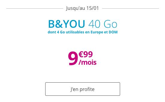 B&YOU Forfait mobile avec 40 Go de data pour moins de 10€ par mois.